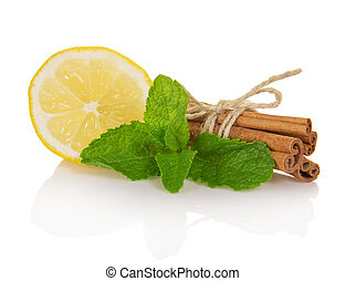 Cinnamon sticks, segment of lemon and mint - Cinnamon...