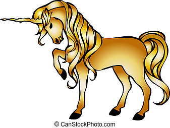 golden unicorn - illustration of a unicorn