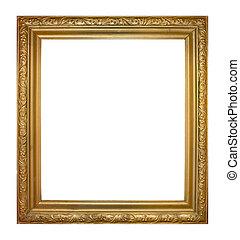 Frame for picture - Embossed wooden frame golden color...