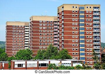 Residential tower blocks.