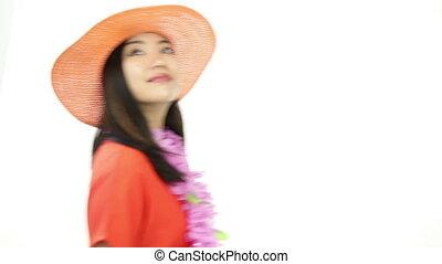 asian girl orange sundress isolated on white smiling and...