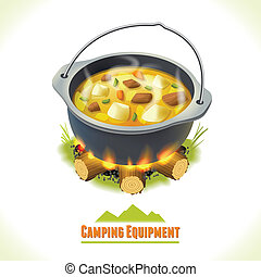 Camping symbol food pot - Camping summer outdoor activity...