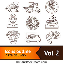 Pizza Icons Set Outline - Fast food pizza delivery...