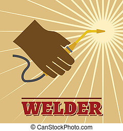 Welder retro poster - Welder industry retro poster with...