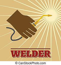 Welder retro poster - Welder industry retro poster with...