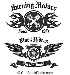 Motorcycle label black - Motorcycle grunge black riders...