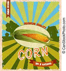 Corn retro poster - Retro vintage premium quality natural...