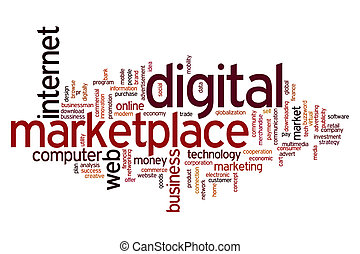 Digital marketplace word cloud - Digital marketplace concept...