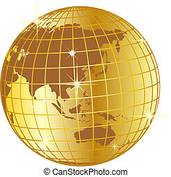 golden globe asia and australia - illustration of a golden...