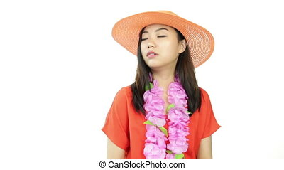 asian girl orange sundress isolated on white angry arms...