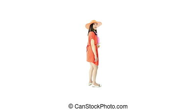 asian girl orange sundress isolated on white smiling - asian...