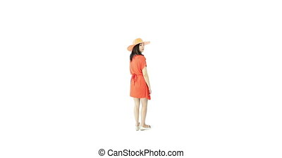 asian girl orange sundress isolated on white worried upset -...