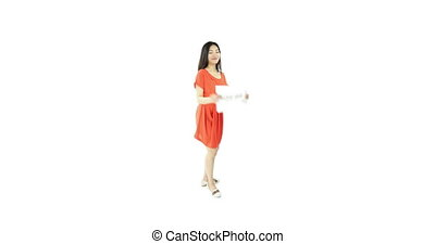 asian girl orange sundress isolated on white with hire me...