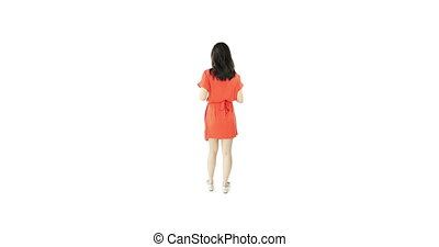 asian girl orange sundress isolated on white with thanks...