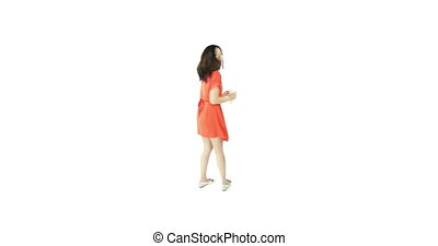 asian girl orange sundress isolated on white confused with question mark sign