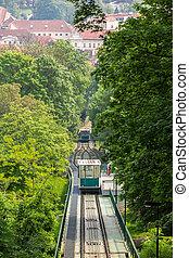 Petrin funicular in Prague, Czech Republic