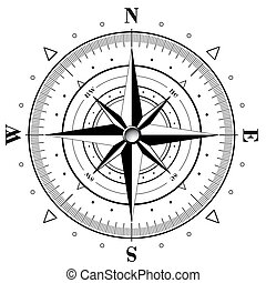 Compass Rose - Black compass rose isolated on white