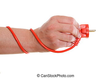 Power cable on white background in hand
