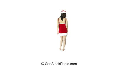 sexy santa claus isolated on white confidential - asian 20...