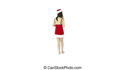 sexy santa claus isolated on white with gift