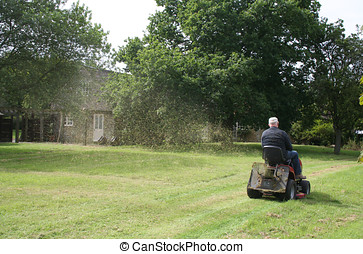 Grass cutting with sit on mower