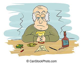 Sadness - Sad man at the table.