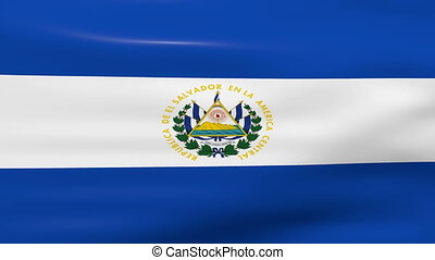 Waving El Salvador Flag, ready for seamless loop.