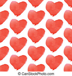 Aquarell heart, vector vintage seamless pattern eps 10