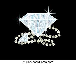 dos, grande, diamantes, perla, collar