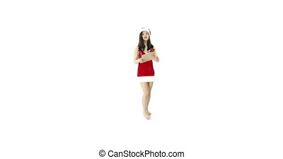 sexy santa claus isolated on white happy checklist - asian...