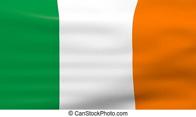 Waving Ireland Flag, ready for seamless loop