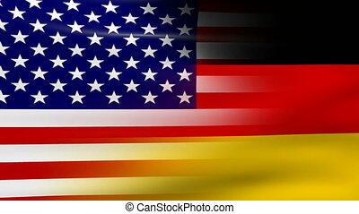 Waving USA and Germany Flag, ready for seamless loop.