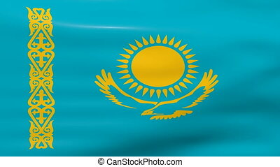 Waving Kazakhstan Flag, ready for seamless loop