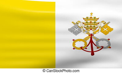 Waving Vatican City Flag, ready for seamless loop