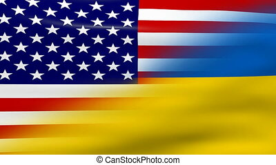 Waving Ukraine and USA Flag, ready for seamless loop.