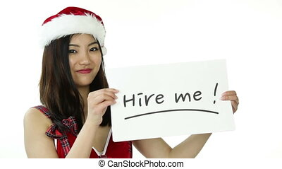 sexy santa claus isolated on white with hire me sign - asian...