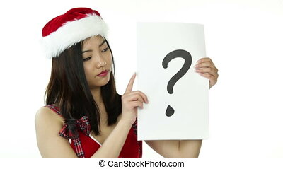sexy santa claus isolated on white confused with question mark sign