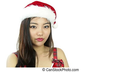 sexy santa claus isolated on white secrecy - asian 20 years...