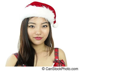 sexy santa claus isolated on white check mark sign - asian...