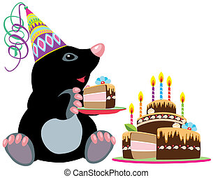 mole holding piece of cake - cartoon mole holding a piece of...