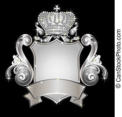 silver heraldic shield - illustration of a silver heraldic...