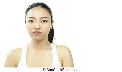 sport girl isolated on white worried upset