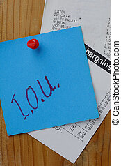 I.O.U and receipts - Blue note with IOU written in felt pen...