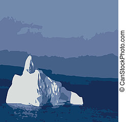 Iceberg - A typical iceberg flow with an ocean and sky...