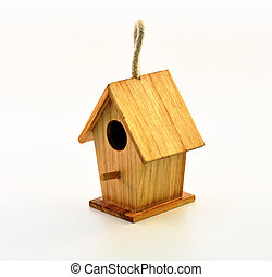 Birdhouse - Wooden birdhouse on a white background without...