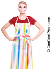 housewife wearing kitchen apron - Young housewife wearing...