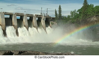 Hydro Dam with Rainbow m 03 - Rainbow on the Kananaskis...