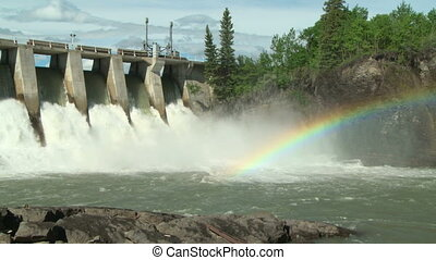 Hydro Dam with Rainbow pan left - Rainbow on the Kananaskis...