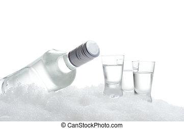 bouteille, lunettes, vodka, mensonge, glace, blanc
