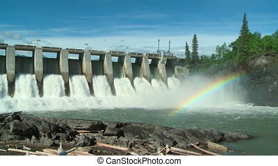 Hydro Dam with Rainbow ws 02 - Rainbow on the Kananaskis...